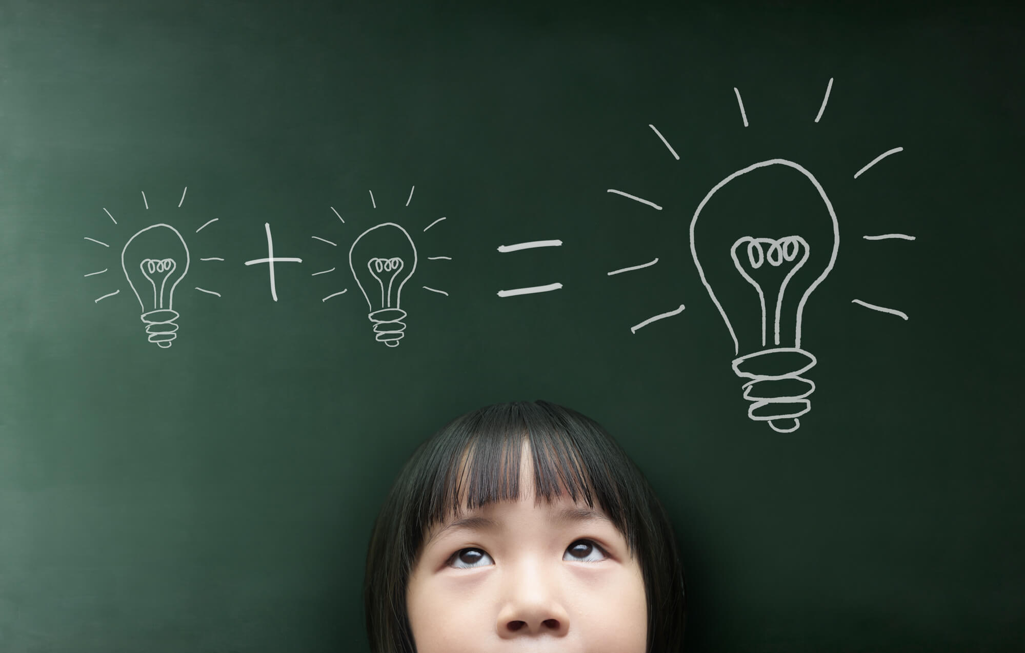 ideas, innovations, concept, girl, Asian, blackboard, light bulb