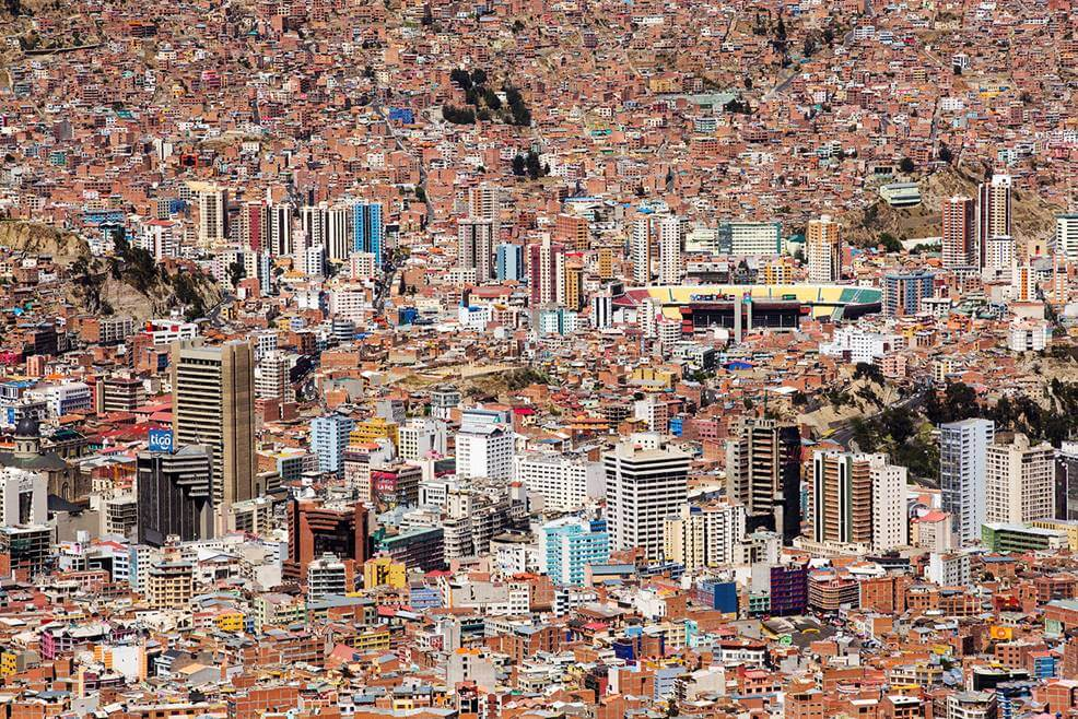 aerial photograph, La Paz, Bolivia, city, cityscape, population density