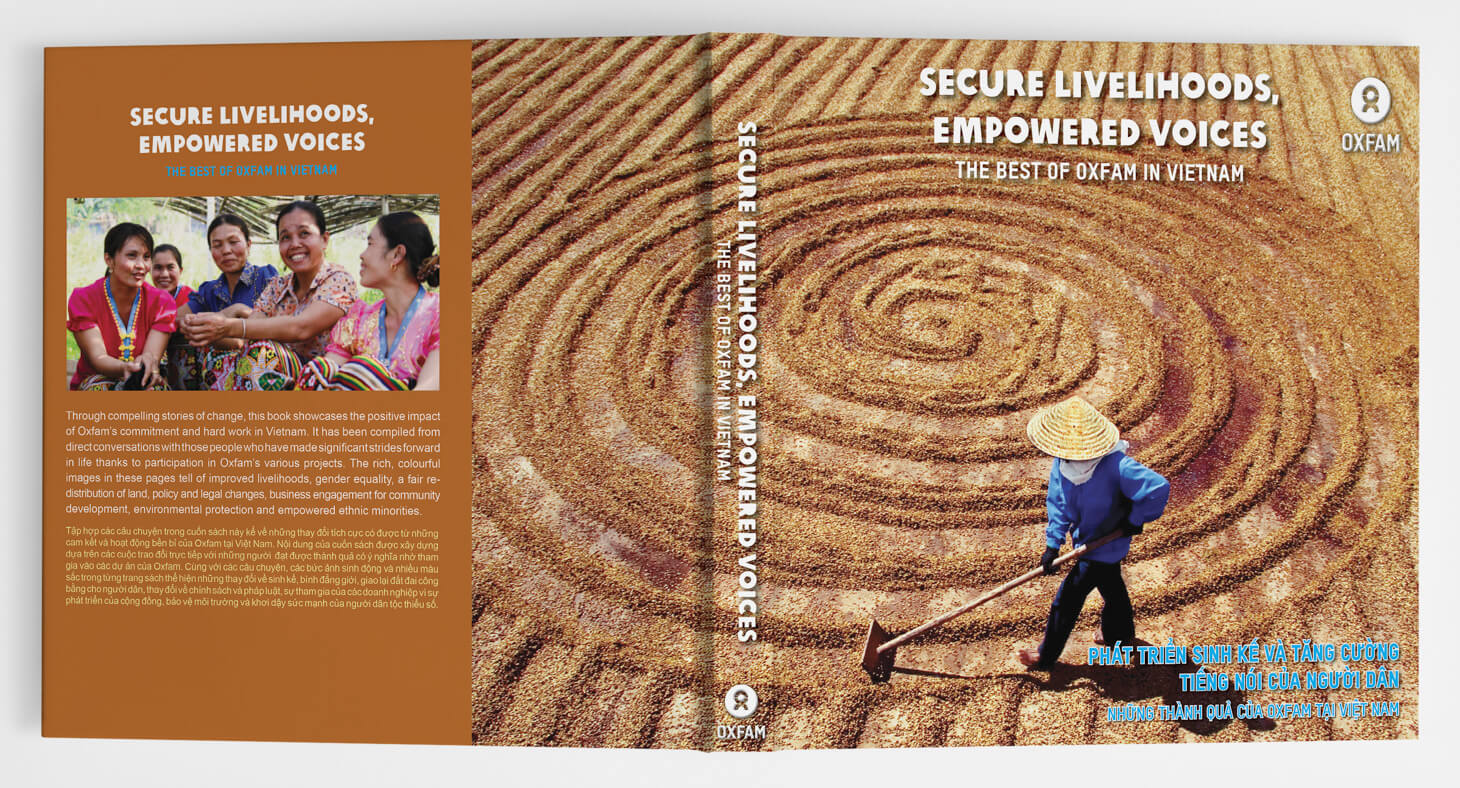 Oxfam, photo book, cover design, photography, South East Asia, Vietnam, visual storytelling, farmer, aerial photo, women, gender