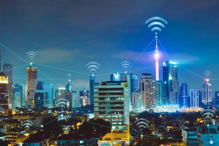 Wifi, connected, cityscape, communications, digital