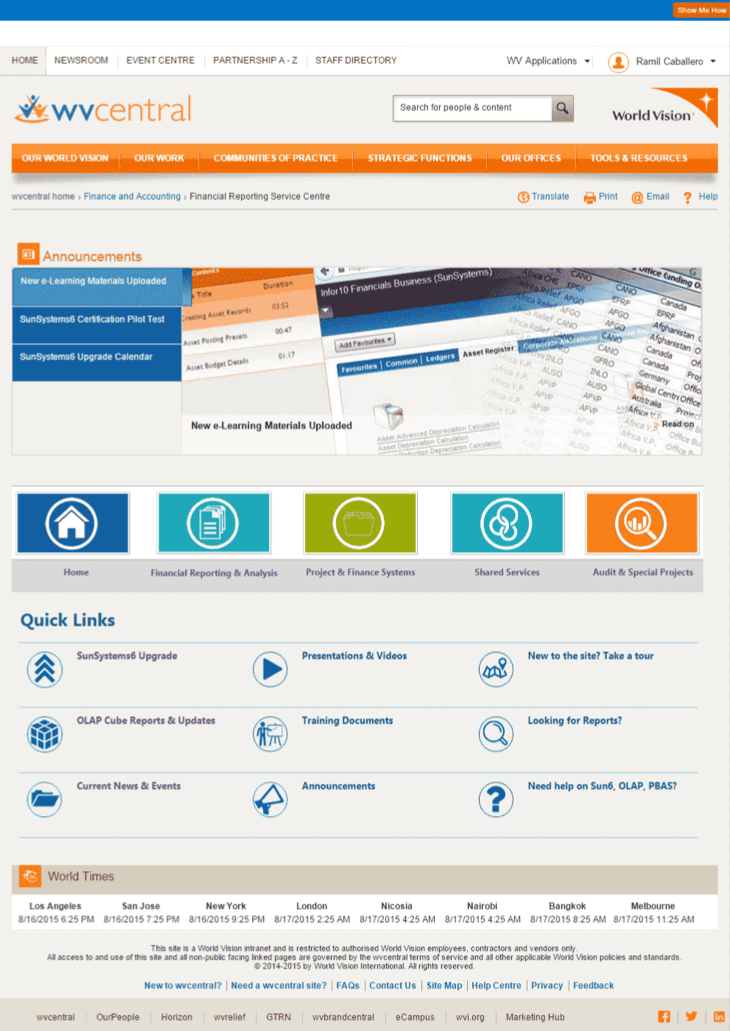 World Vision Sharepoint User Interface